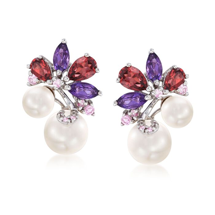 6-8.5mm Cultured Pearl and 2.70 ct. t.w. Multi-Stone Cluster Drop Earrings in Sterling Silver