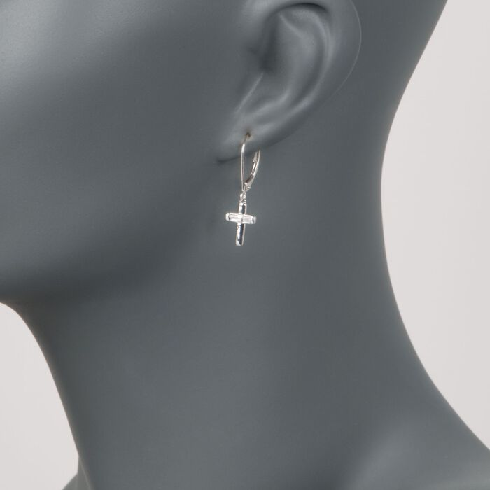 .10 ct. t.w. Diamond Cross Drop Earrings in Sterling Silver