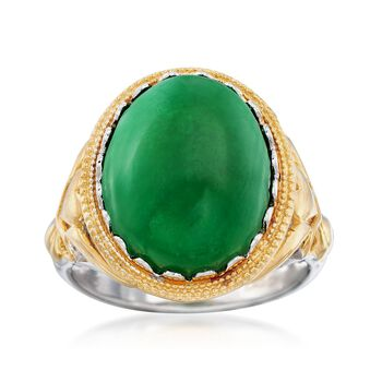 Green Jade Cabochon Ring in Two-Tone Sterling Silver, , default