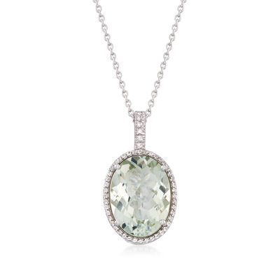 15.00 Carat Green Prasiolite and .40 ct. t.w. White Topaz Pendant Necklace in Sterling Silver, , default