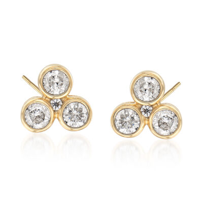 .50 ct. t.w. Diamond Trio Stud Earrings in 14kt Yellow Gold, , default