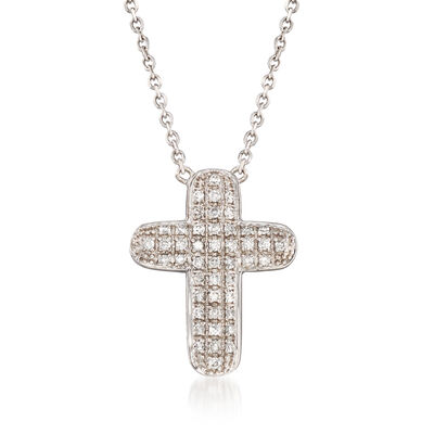 .31 ct. t.w. Pave Diamond Cross Pendant Necklace in 14kt White Gold, , default