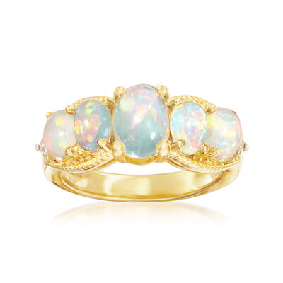 Opal and .10 ct. t.w. White Topaz Ring in 18kt Gold Over Sterling