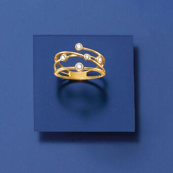 .25 ct. t.w. Bezel-Set Diamond Crisscross Ring in 14kt Yellow Gold, , default