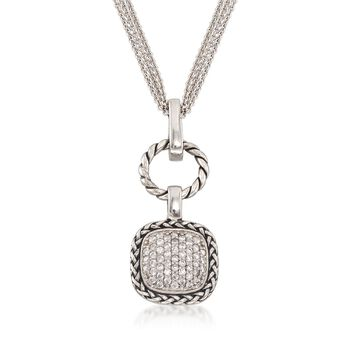 """.50 ct. t.w. CZ Square and Open Circle Pendant Necklace in Sterling Silver. 18"""", , default"""