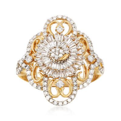 .85 ct. t.w. Diamond Openwork Spiral Ring in 14kt Yellow Gold, , default