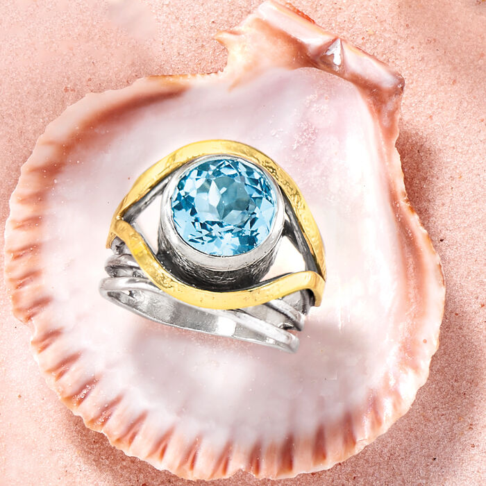 15.00 Carat Blue Topaz Ring in 14kt Yellow Gold and Sterling Silver