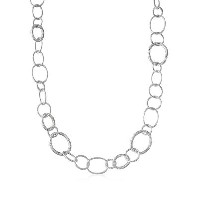 Italian Sterling Silver Textured Oval-Link Necklace, , default