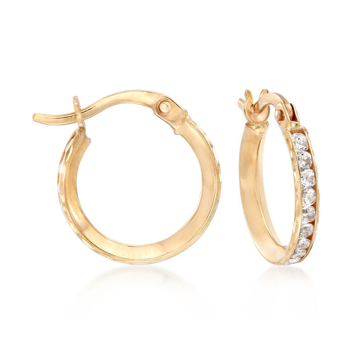 Mom & Me 1.15 ct. t.w. CZ Hoop Earring Set of 2 in 14kt Yellow Gold