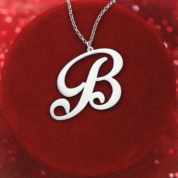 """Sterling Silver Oversized Single Initial Pendant Necklace. 18"""", , default"""