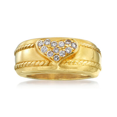 C. 1980 Vintage .25 ct. t.w. Pave Diamond Heart Ring in 18kt Yellow Gold