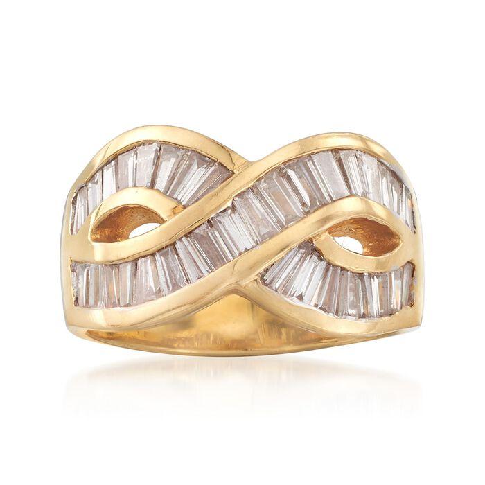 C. 1980 Vintage 1.70 ct. t.w. Baguette Diamond Crisscross Ring in 18kt Yellow Gold. Size 6.5, , default