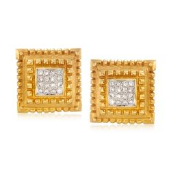 C. 1980 Vintage .80 ct. t.w. Pave Diamond Square Clip-On Earrings in 14kt Yellow Gold, , default