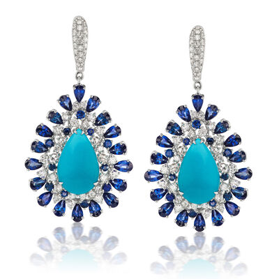 Turquoise, 10.10 ct. t.w. Sapphire and 2.59 ct. t.w. Diamond Drop Earrings in 18kt White Gold