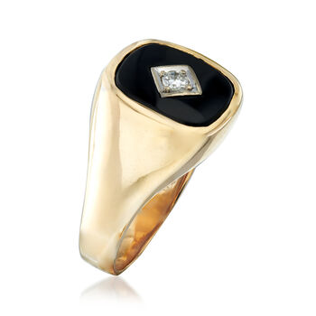 C. 1970 Vintage Men's Black Onyx and .12 Carat Diamond Ring in 14kt Yellow Gold. Size 11, , default
