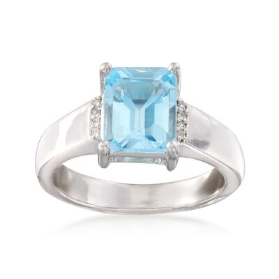 2.40 Carat Blue Topaz Ring with White Topaz Accents in Sterling Siler, , default