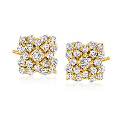 .40 ct. t.w. Diamond Flower Stud Earrings in 18kt Gold Over Sterling
