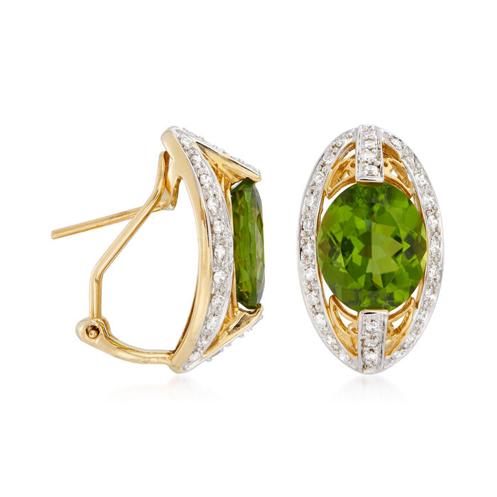 C. 1990 Vintage 7.00 ct. t.w. Peridot and .75 ct. t.w. Diamond Earrings in 14kt Yellow Gold