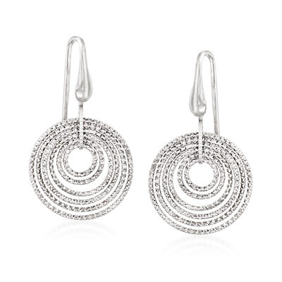 "Charles Garnier ""Saturnia"" Multi-Circle Drop Earrings in Sterling Silver , , default"