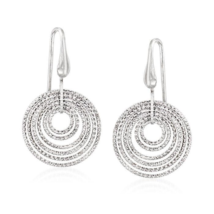 """Charles Garnier """"Saturnia"""" Multi-Circle Drop Earrings in Sterling Silver"""