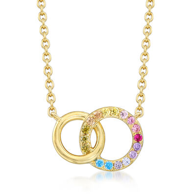.45 ct. t.w. Multicolored CZ Interlocking Double Circle Necklace in 18kt Gold Over Sterling, , default