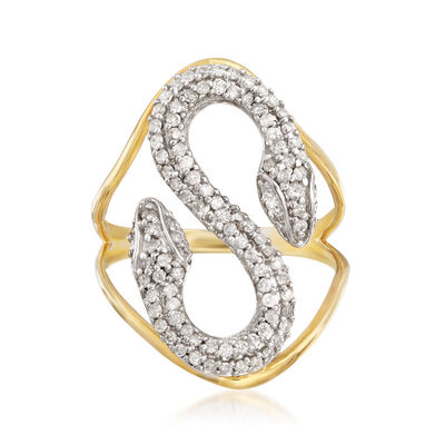 .50 ct. t.w. Diamond Double Head Snake Ring in 18kt Gold Over Sterling