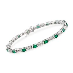 "3.85 ct. t.w. Emerald and .95 ct. t.w. Diamond Bracelet in 14kt White Gold. 7"", , default"