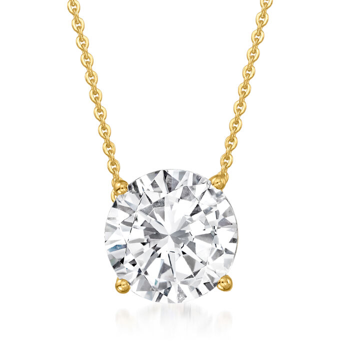 2.00 Carat Diamond Solitaire Necklace in 14kt Yellow Gold