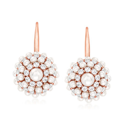 C. 1990 Vintage Mimi Milano 3.5-5.5mm Cultured Pearl and 6.50 ct. t.w. White Sapphire Cluster Earrings in 18kt Rose Gold