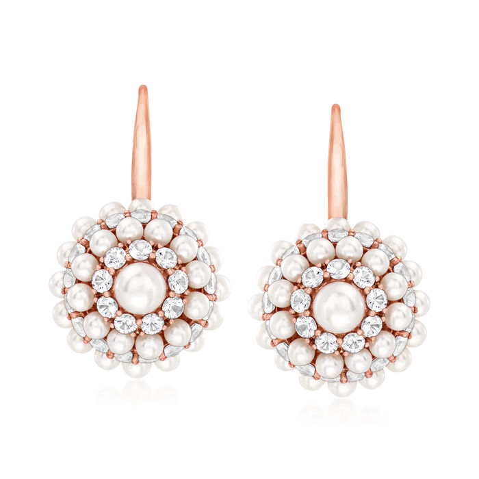 C. 1990 Vintage Mimi Milano 3.5-5.5mm Cultured Pearl and 6.50 ct. t.w. White Sapphire Cluster Earrings in 18kt Rose Gold, , default
