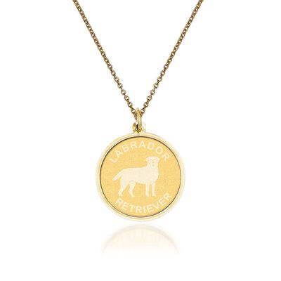 14kt Yellow Gold Labrador Retriever Pendant Necklace, , default