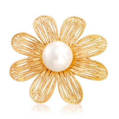 Italian 9.5-10mm Cultured Pearl Flower Ring in 18kt Gold Over Sterling