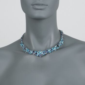 "Roberto Coin ""Shanghai"" 67.15 ct. t.w. Multi-Stone and .95 ct. t.w. Diamond Necklace in 18kt White Gold. 16"", , default"