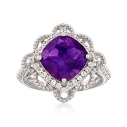 3.60 Carat Amethyst and .50 ct. t.w. White Topaz Ring in Sterling Silver, , default