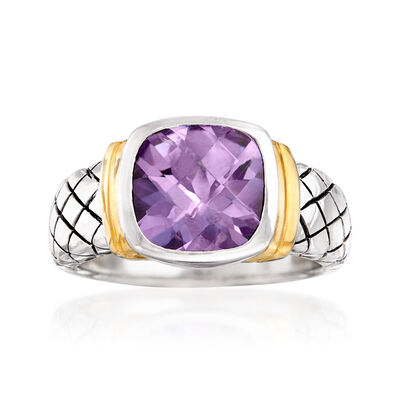 2.10 Carat Amethyst Ring in Sterling Silver and 14kt Yellow Gold, , default