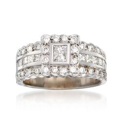 C. 1990 Vintage 1.50 ct. t.w. Princess-Cut and Round Diamond Ring in 14kt White Gold, , default