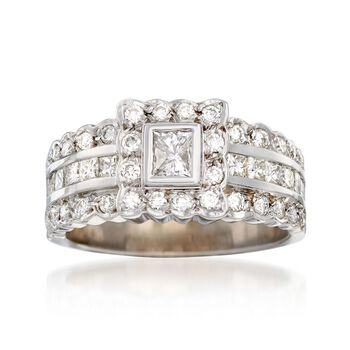 C. 1990 Vintage 1.50 ct. t.w. Princess-Cut and Round Diamond Ring in 14kt White Gold. Size 7, , default