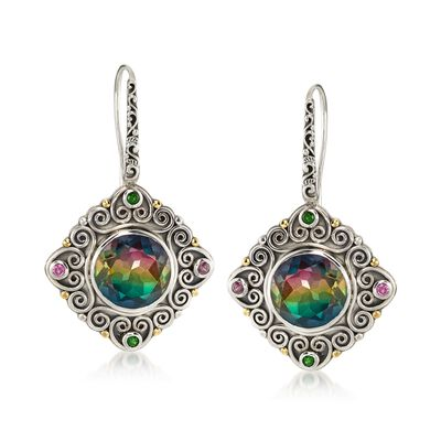 10.00 ct. t.w. Multicolored Quartz and .20 ct. t.w. Multi-Stone Earrings with 18kt Yellow Gold in Sterling Silver, , default