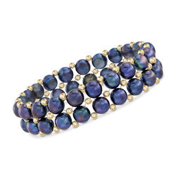 "7.5-8mm Black Cultured Button Pearl Stretch Bracelet With 14kt Yellow Gold Beads. 7"", , default"