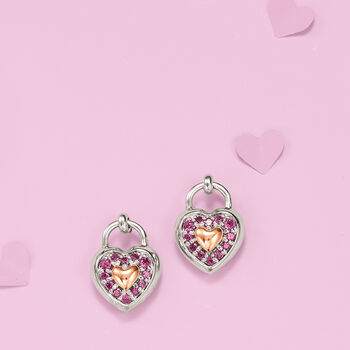 .40 ct. t.w. Rhodolite Garnet Heart Earrings in Sterling Silver and 14kt Rose Gold