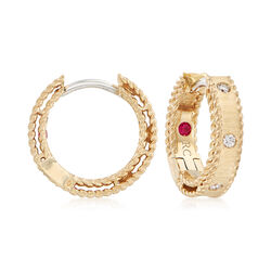 "Roberto Coin ""Symphony Princess DiamondAccented Hoop Earrings in 18kt Yellow Gold, , default"
