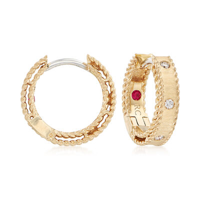 "Roberto Coin ""Symphony Princess Diamond-Accented Hoop Earrings in 18kt Yellow Gold, , default"