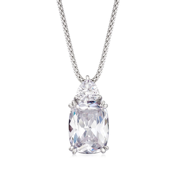 13.75 ct. t.w. CZ Pendant Necklace in Sterling Silver, , default