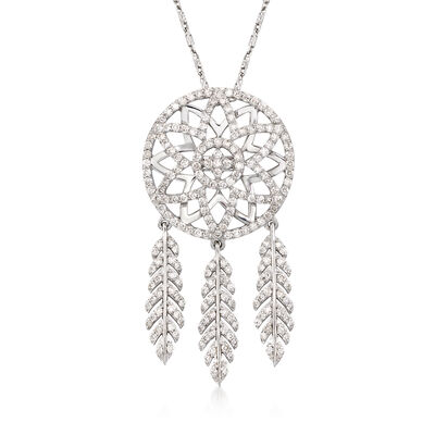1.00 ct. t.w. Diamond Dream Catcher Necklace in 14kt White Gold, , default