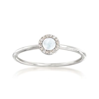 Mother-Of-Pearl Ring with Diamond Accents in 14kt White Gold , , default