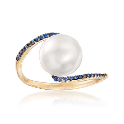 10-10.5mm Cultured Pearl and .10 ct. t.w. Sapphire Ring in 14kt Yellow Gold