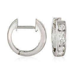 ".50 ct. t.w. Diamond Hoop Earrings in 14kt White Gold. 3/8"", , default"