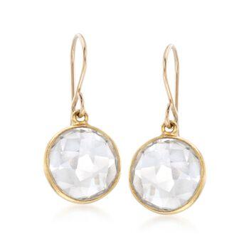Bezel-Set Rock Crystal Drop Earrings in 14kt Gold Over Sterling, , default