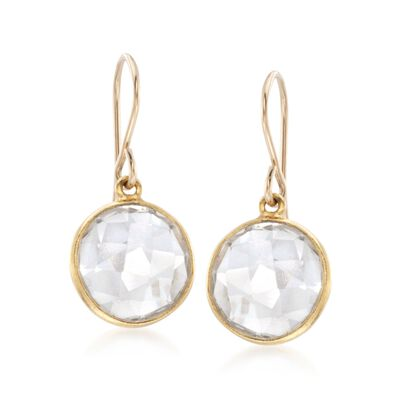 Bezel-Set Rock Crystal Drop Earrings in 14kt Gold Over Sterling, , default