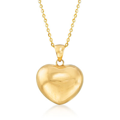 Italian 18kt Yellow Gold Heart Pendant Necklace, , default